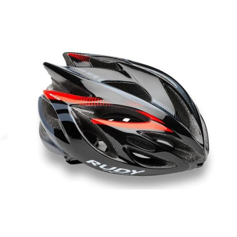 Каска Rudy Project RUSH BLACK - RED FLUO SHINY  L