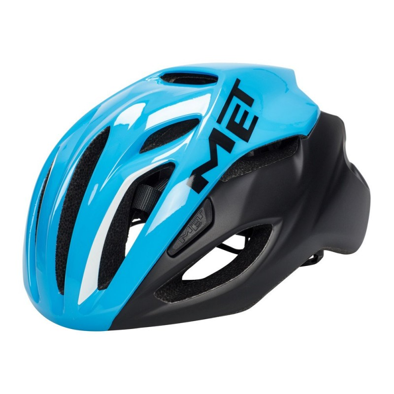 Велошлем MET Rivale, черно-голубой (фото 2)