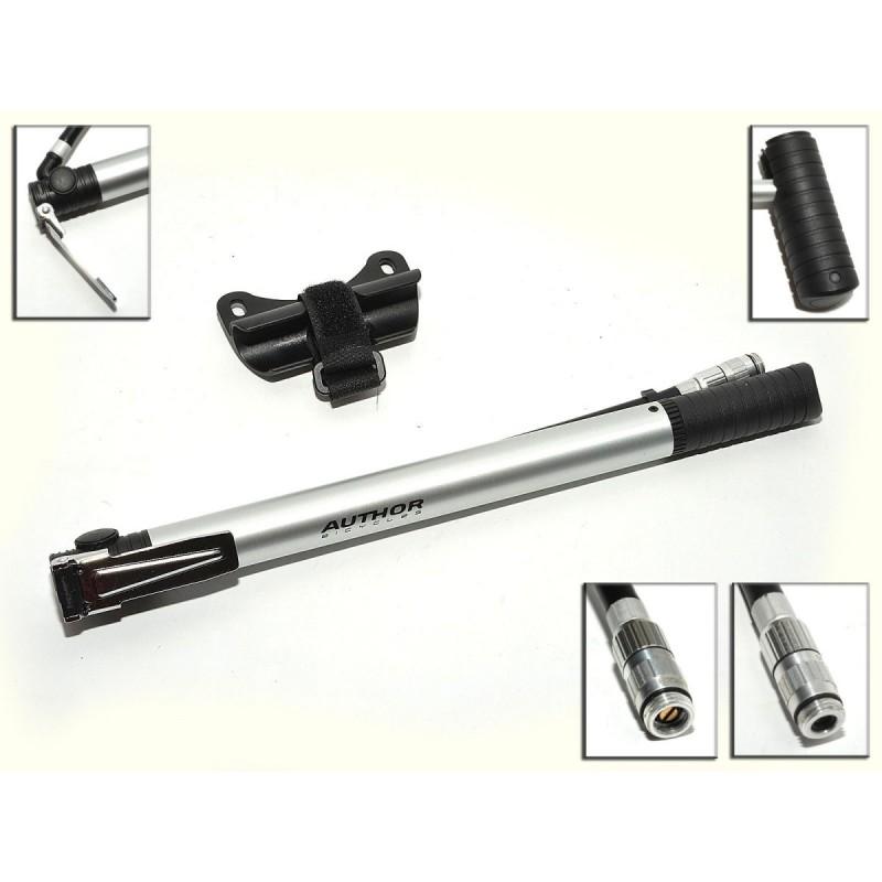 Насос велосипедный AUTHOR, алюминий, AAP Cross Lite, универсальная головка, Т-ручка, серебристый, 8-18101048