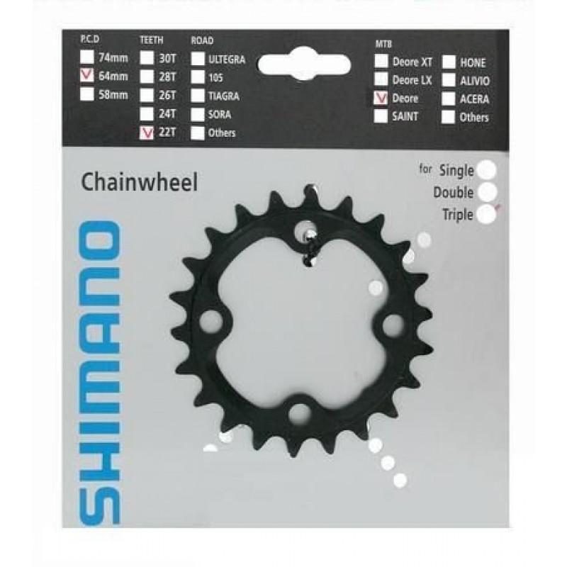 Звезда передняя для велосипеда Shimano Deore для FC-M590, 22T Y1LD22000